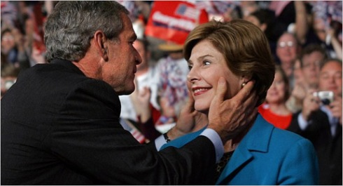 George and Laura Bush in love